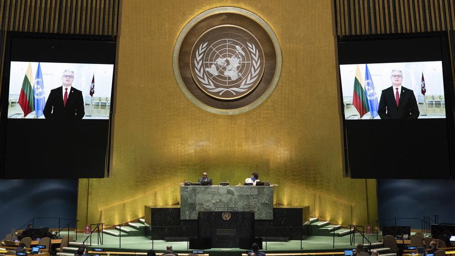 Prezydent Litwy Gitanas Nauseda  występuje na Zgromadzeniu Ogólnym ONZ