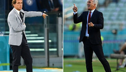 Italy coach Mancini (L) takes on Petkovic (R) in Rome Creator: Mike HEWITT