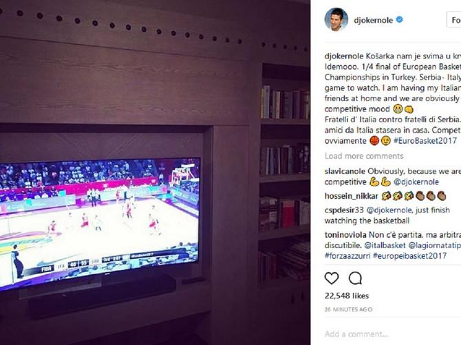 Košarkaše bodrio i Nole: I to u posebnoj kućnoj atmosferi!