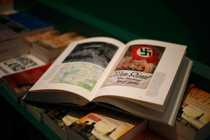 A copy of the book Hitler, Mein Kampf. A Critical Edition lies on a display table in a bookshop in