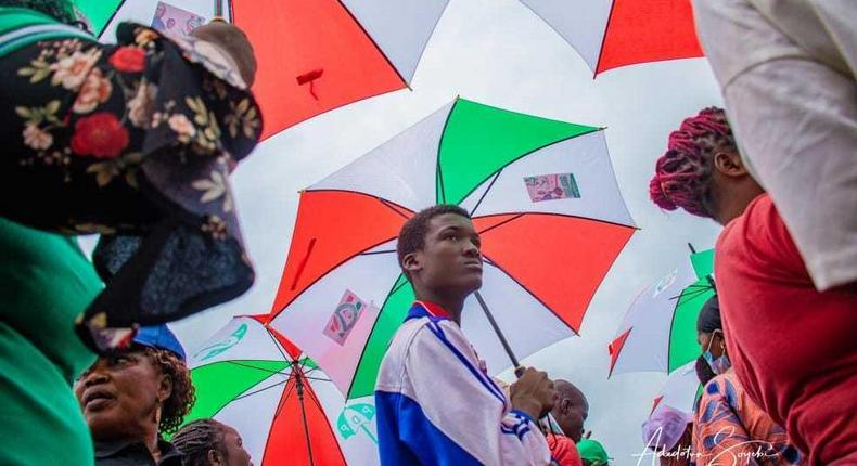 An illustrative photo of PDP supporters at an election campaign rally in Edo State [Adedotun Soyebi]
