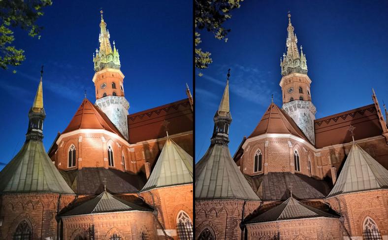 Po lewej zdjęcie zrobione Honorem 10, po prawej - Huaweiem P20
