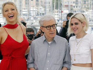 "Actress Blake Lively jokes with director Woody Allen and actress Kristen Stewart as they pose during a photocall for the film ""Cafe Society"" out of competition before the opening of the 69th Cannes Film Festival in Cannes"