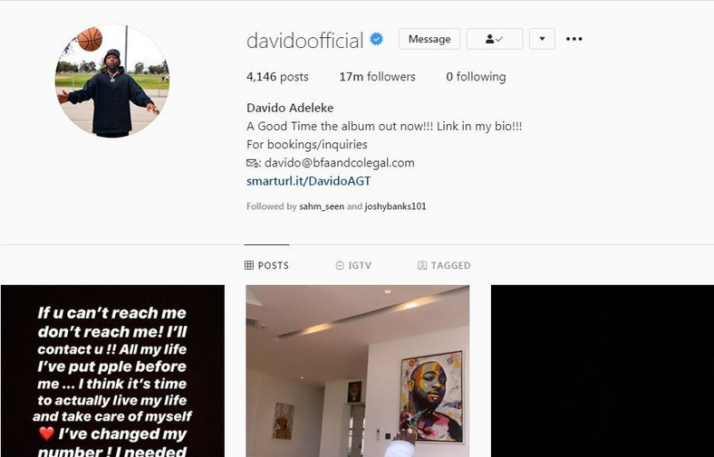 Davido unfollows everyone on Instagram including his soon to be wife, Chioma.