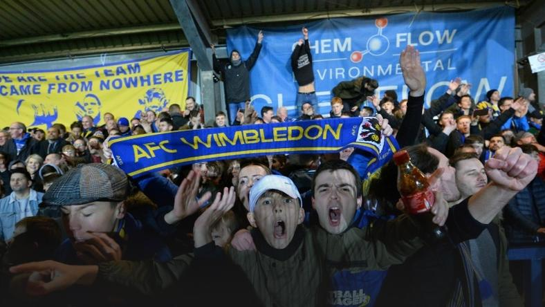 Up for the Cup: AFC Wimbledon fans celebrate their 4-2 victory over West Ham in the fourth round of the FA Cup