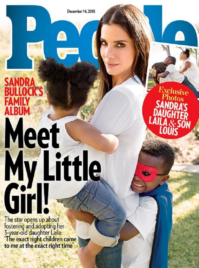 """Sandra Bulok sa decom na naslovnoj strani magazina """"Pipl"""""""