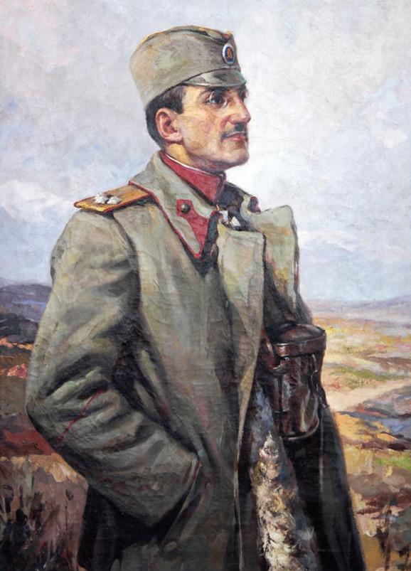 """Vsevolod Guljevič, """"Portret regenta Aleksandra u činu pukovnika"""" (detalj)"""