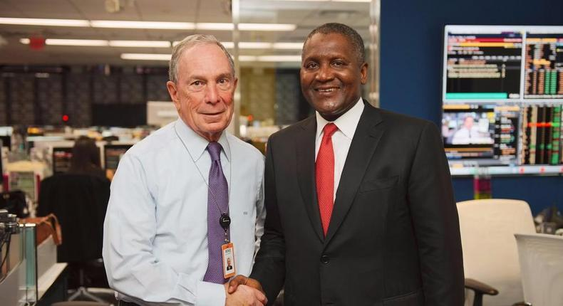 Aliko Dangote in a picture with Mike Bloomberg for #BloombergGBF (Twitter/mikebloomberg)