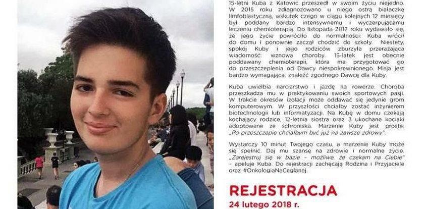 Akcja w Katowicach! Szukamy bliźniaka genetycznego dla 15-letniego Kuby