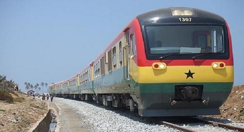 Train moving from Tema to Accra