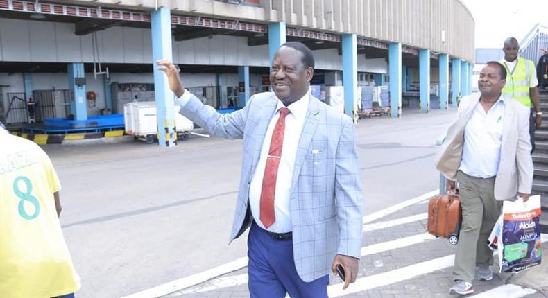 File image of Raila Odinga at JKIA