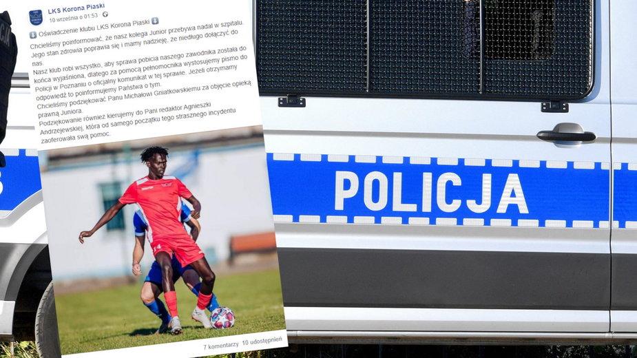 Zatrzymano trzech napastników w ataku na czarnoskórego piłkarza Korony Piaski (Fot. Facebook.com, LKS Korona Piaski)