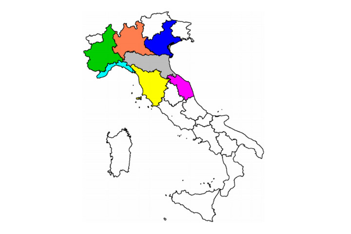 Siedem regionów Włoch najbardziej dotkniętych epidemią koronawirusa / Źródło: Imperial College London, Report 20: Using mobility to estimate the transmissionintensity of COVID-19 in Italy: A subnational analysiswith future scenarios