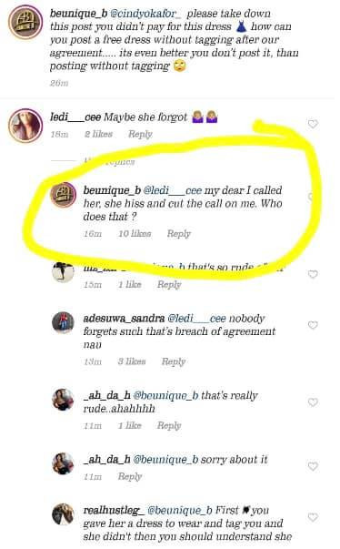 A screenshot of the allegations by Beunique fashion owner on Instagram after Cindy posted her picture allegedly wearing the brand's dress.