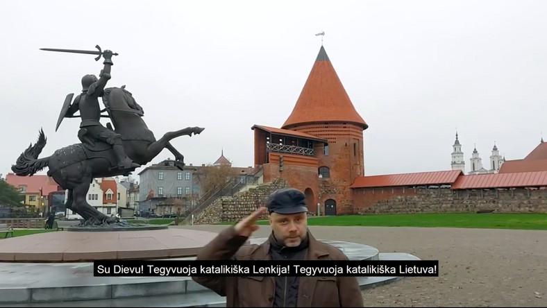 Šarūnas Pusčius na filmie nagranym z okazji Święta Niepodległości w Polsce Kowno, 11 listopada 2020, fot. Facebook
