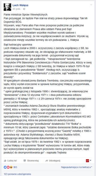 Wałęsa do Andrzeja Dudy: 'Albo Pan mnie przeprosi, albo oddam Pana pod Sąd'