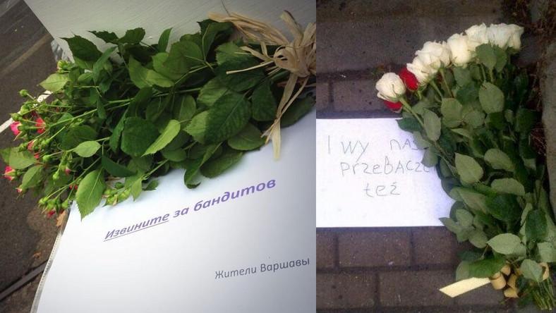 Kwiaty pod ambasadami: rosyjską w Warszawie i polską w Moskwie