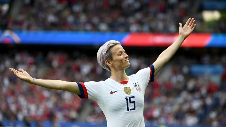 Megan Rapinoe celebrates scoring in the World Cup quarter-final win over France in June