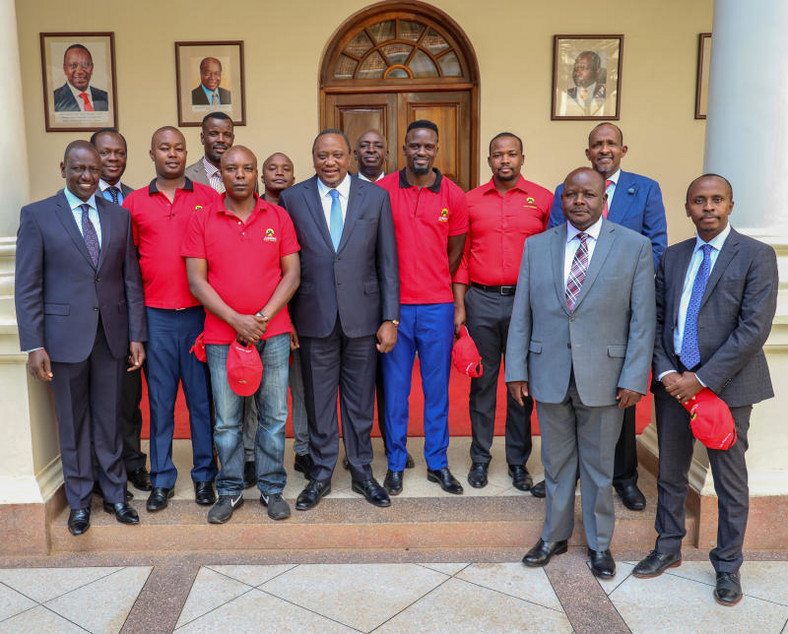 President Uhuru Kenyatta and DP William Ruto at State House, Nairobi when they met Jubilee Party candidate for the forthcoming Kibra by-election Mcdonald Mariga