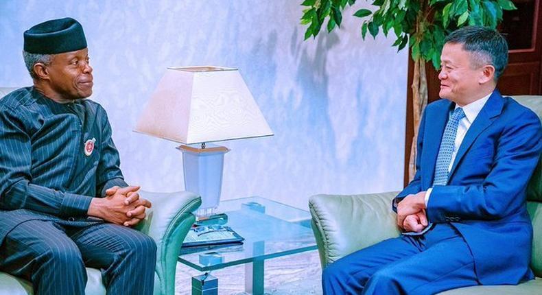 Jack Ma and Vice president Yemi Osinbajo meet in Abuja before the NDE Summit (Twitter/@laoluakande)