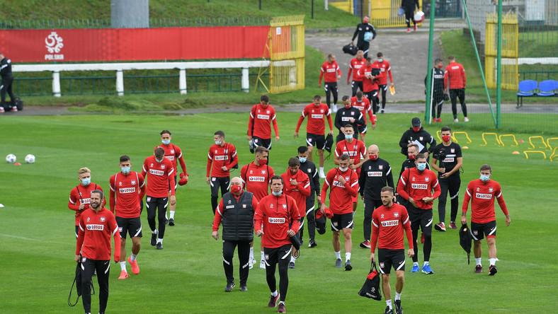 Piłkarze reprezentacji Polski podczas treningu w Warszawie, 1 bm. Polacy przygotowują się do meczu Ligi Narodów z Holandią