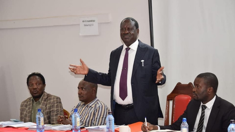 File image of Raila Odinga with a section of ODM party leadership