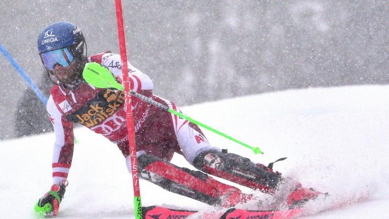 Marco Schwarz na stoku slalomu specjalnego w Kranjskiej Gorze Dostawca: PAP/EPA.