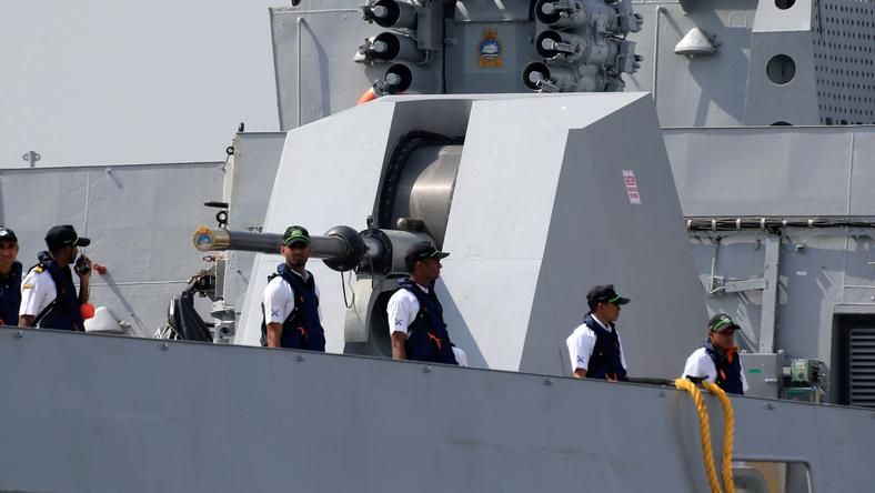Indian sailors aboard anti-submarine corvette INS Kadmatt arrive in Manila for a four-day goodwill visit in the Philippines, October 3, 2017.