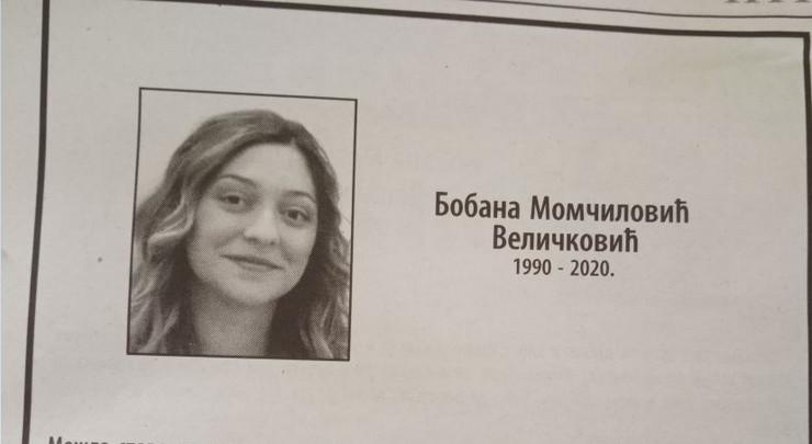 Čitulja za Bobanu Momčilović Veličković