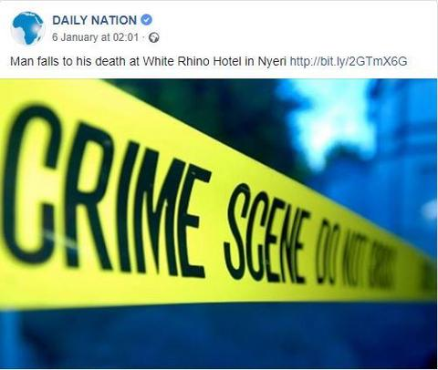Media report on death at White Rhino Hotel in Nyeri