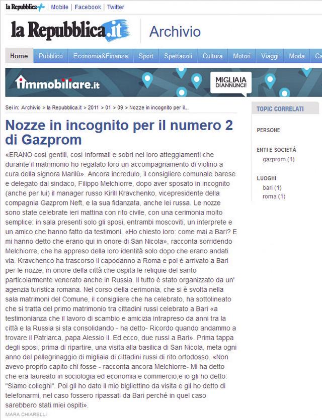 """Italijanska """"Republika"""" pisala opširno o Kravčenkovoj superluksuznoj svadbi"""