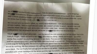 Racist tells black neighbors the sight of their child would be bad for her health
