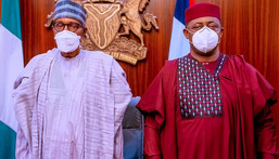 President Muhammadu Buhari with former minister, Femi Fani-Kayode [Presidency]