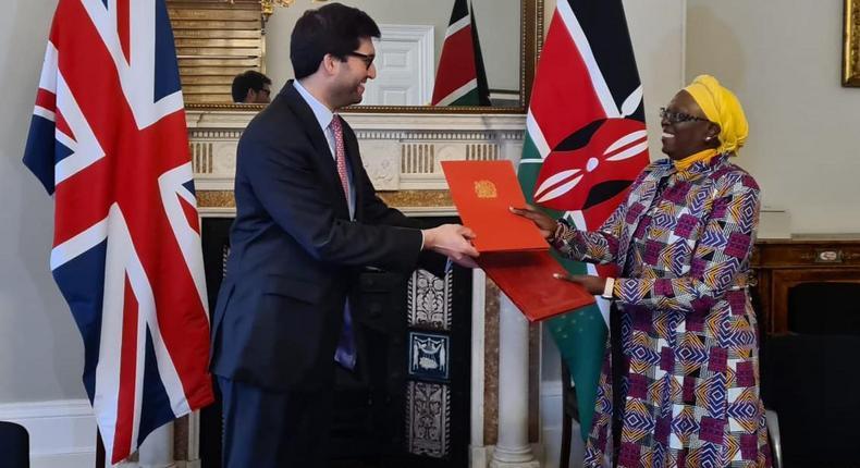 UK International Trade Minister Ranil Jayawardena with Trade Cabinet Secretary Betty Maina