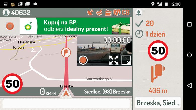Standardowy tryb pracy aplikacji Rysiek: miniatura obrazu z kamery nałożona na mapę