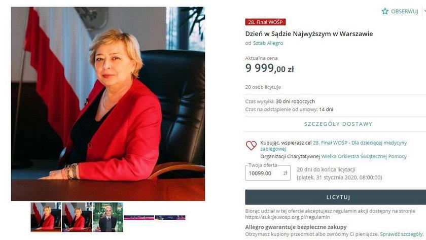 Znani politycy oddali to na WOŚP. Ale to dzień z Małgorzatą Gersdorf jest hitem