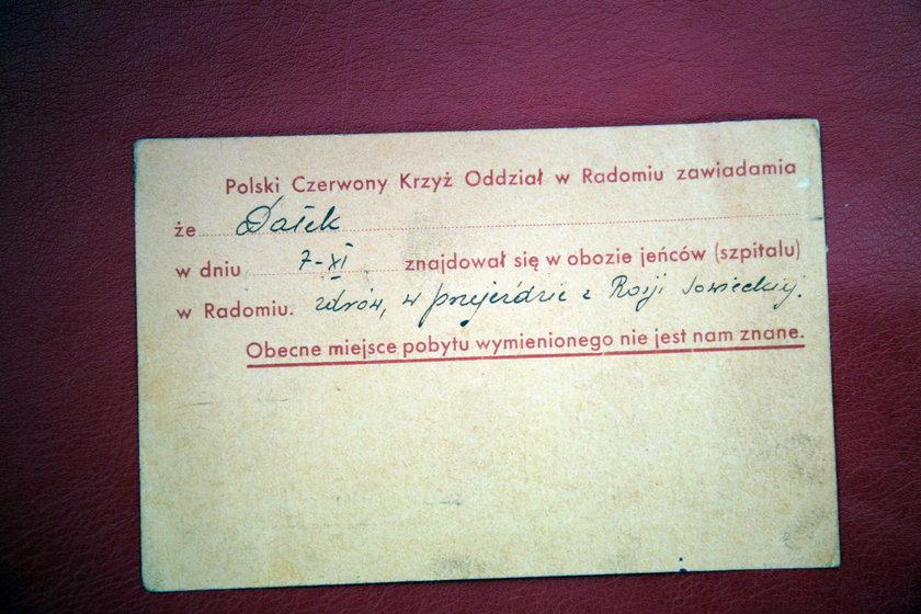 Kartka z Czerwonego Krzyża