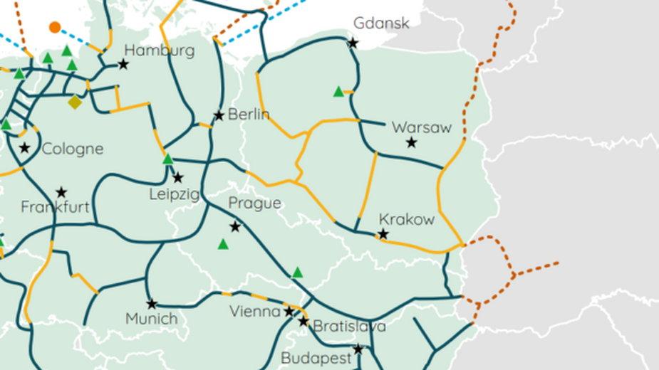 Mapa z Baltic Pipe przystosowanym do transportu wodoru. Grafika: European Hydrogen Backbone