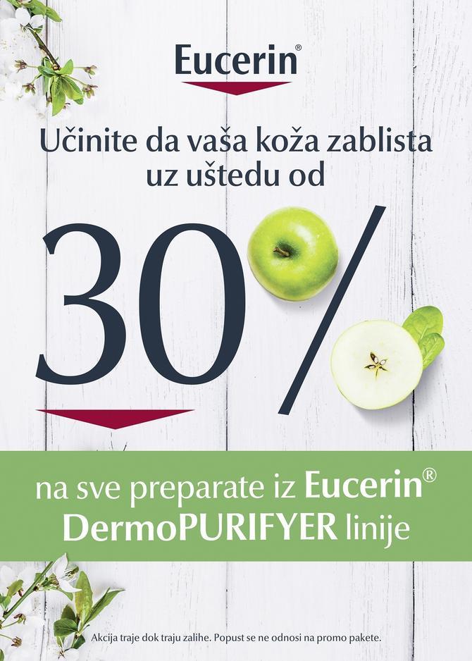 Pogodnost kupovine od 30% očekuje vas pri kupovini Eucerin®DermoPURIFYER preparata, koji će vašoj koži pružiti dubinsko čišćenje i hidrataciju!