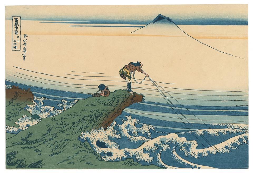 """Katsushika Hokusai """"Kajikazawa w prowincji Koshu"""". Z cyklu """"Trzydzieści sześć widoków góry Fuji"""""""