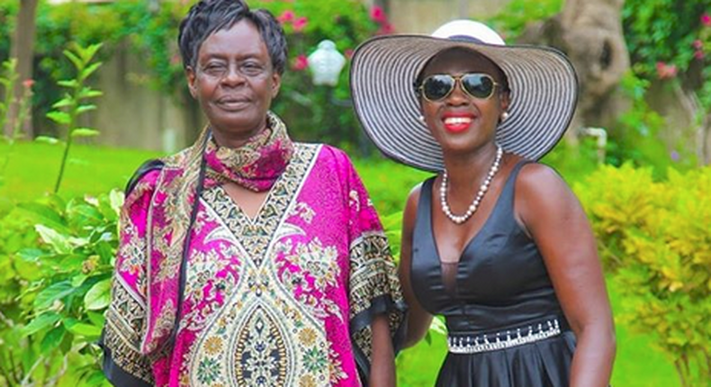 Musician Akothee with her mother