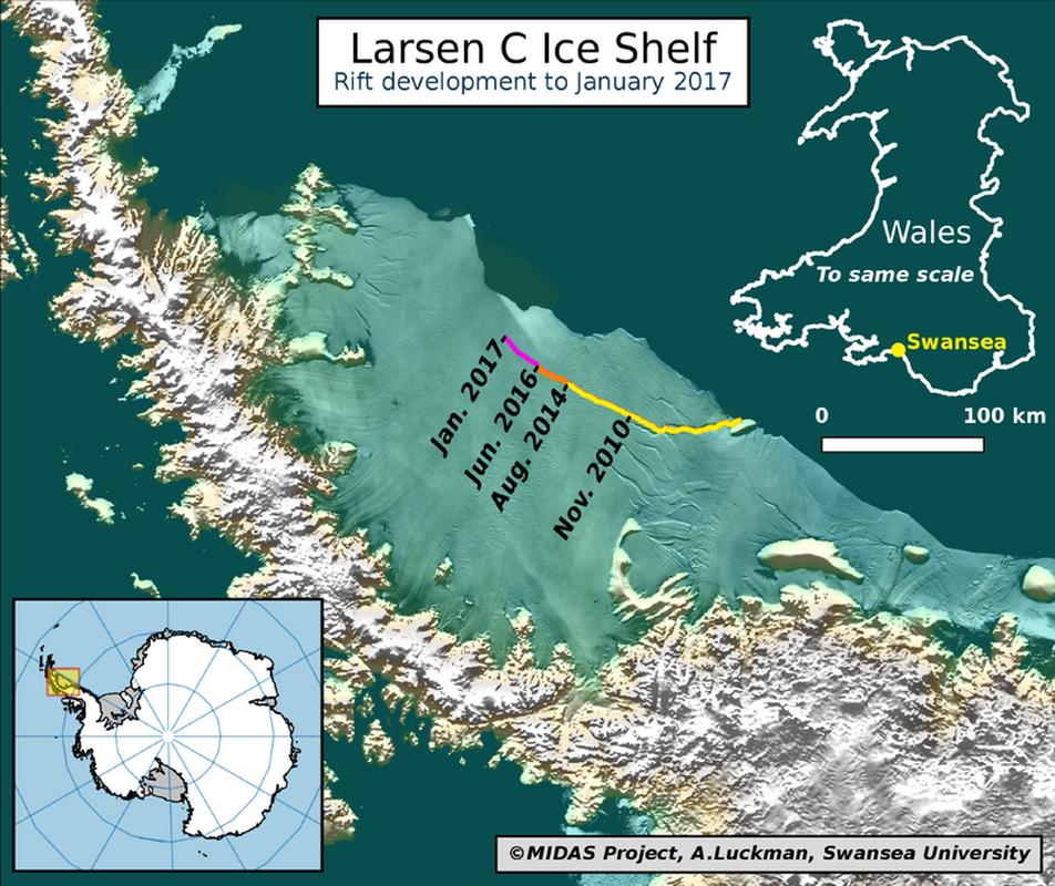Kolorową linią zaznaczono postęp w pękaniu lodowego szelfu od listopada 2010 (na żółto) do stycznia 2017 roku