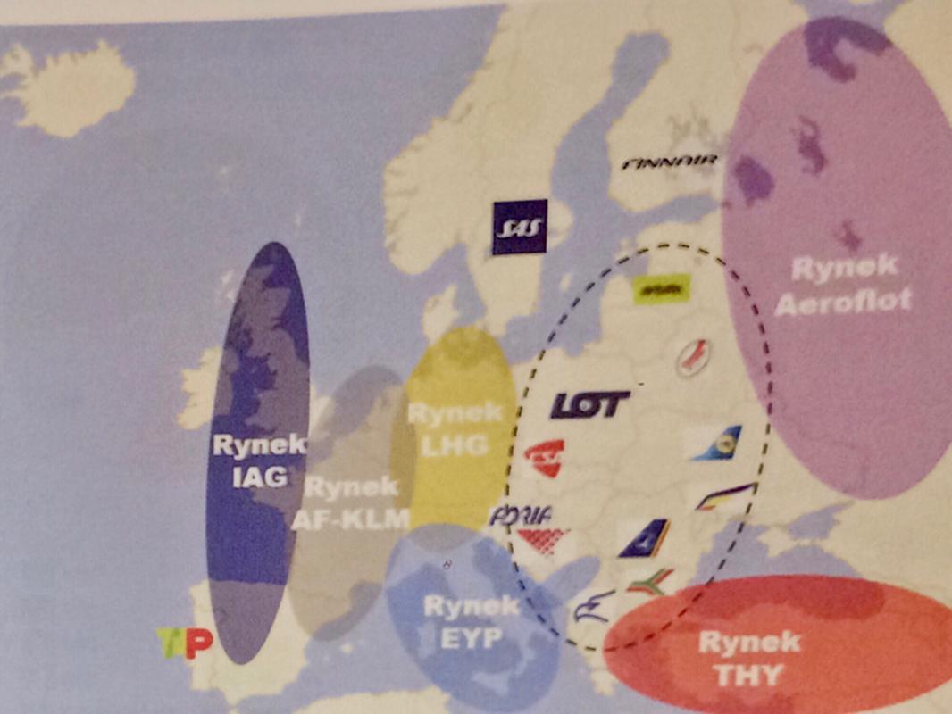 Mapa pokazująca potencjał wzrostu dla PLL LOT jako integratora rynku lotniczego w Europie Środkowej