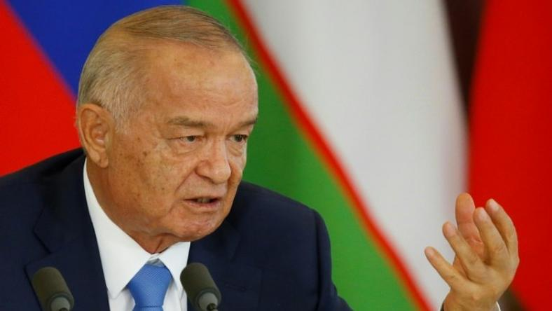Late Uzbek President Islam Karimov speaks at the Kremlin in Moscow on April 26, 2016
