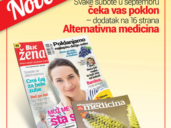 """Ne propustite: Svake subote u septembru uz """"Blic ženu"""" poklon-dodatak """"Alternativna medicina"""""""