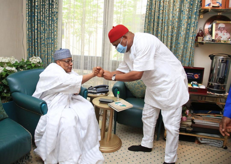 Senator Orji Uzor Kalu and former Military ruler, Ibrahim Babangida. [Twitter/@OUKtweets]