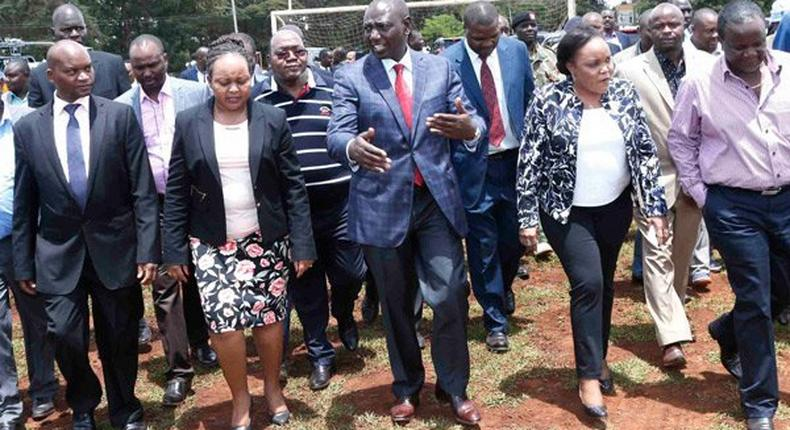File image of Deputy President William Ruto (centre) with Kirinyaga Governor Anne Waiguru (left), Women's Representative Purity Ngirici