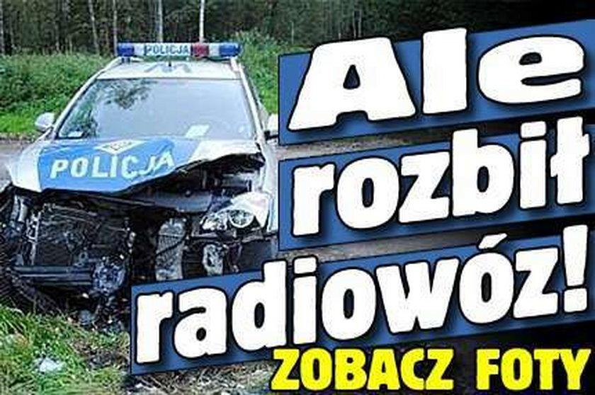 Ale rozbił radiowóz! FOTO