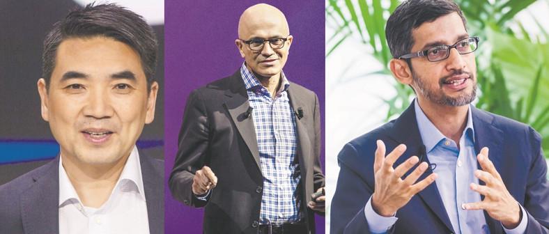 Sundar Pichai (P), Satya Nadella (Ś), Eric Yuana (L)