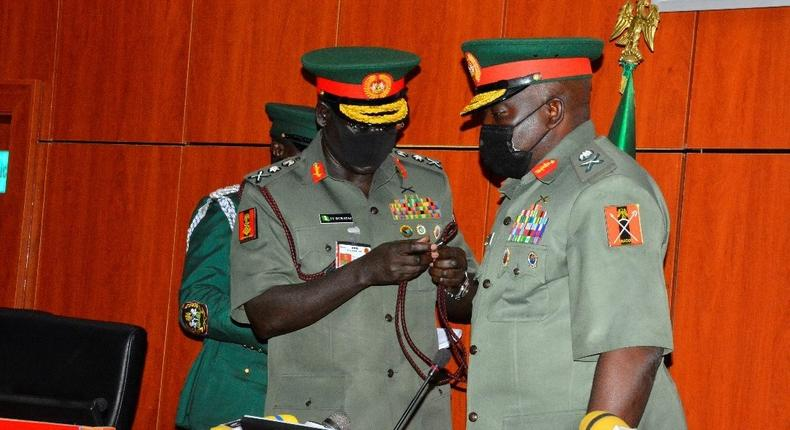 The retired Lieutenant General Tukur Buratai handed over to late Lieutenant General Ibrahim Attahiru as Chief of Army Staff in January 2021 [Nigerian Army]